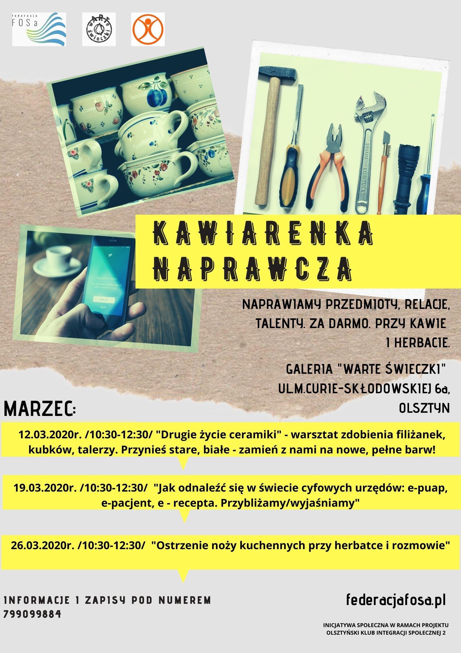 """Kawiarenka naprawcza w galerii """"Warte Świeczki"""""""