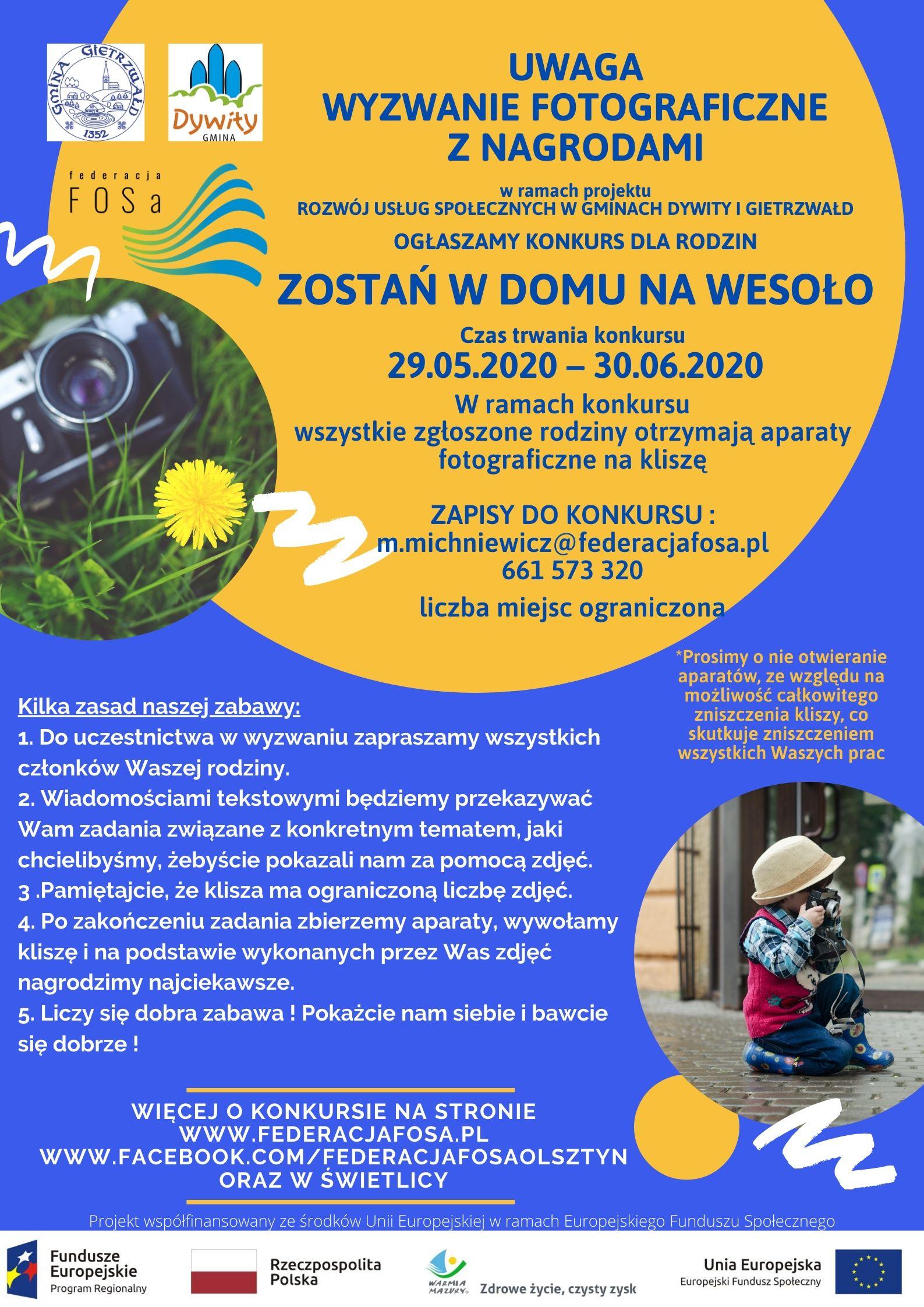 Zapraszamy mieszkańców gmin Dywity i Gietrzwałd na konkursy: fotograficzny i rysunkowy